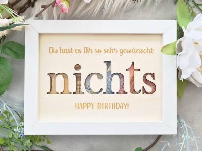 """Geldgeschenk Rahmen """"Nichts - Happy Birthday"""" - 1"""