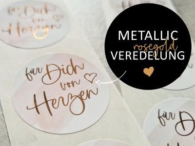 """Metallic-Aufkleber """"Für Dich Von Herzen"""" Rosegold 4,5 cm - 1"""