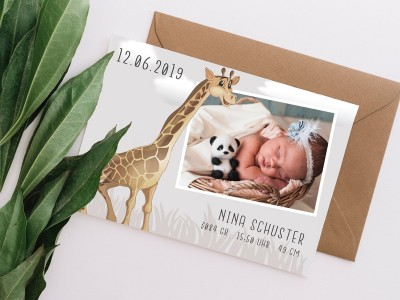 "Geburtskarte ""Giraffe"" - 1"