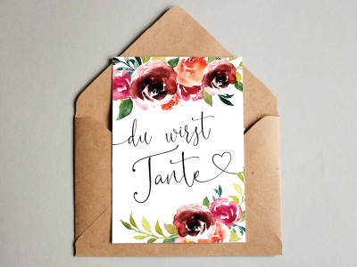 """Karte """"Tante"""" Peonies"""