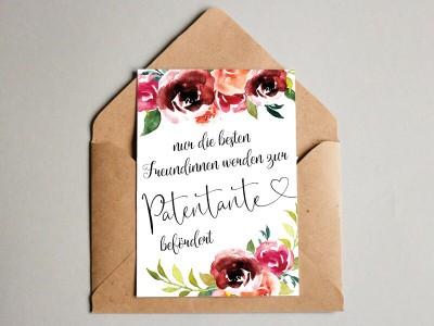 """Karte """"Patentante"""" Peonies"""