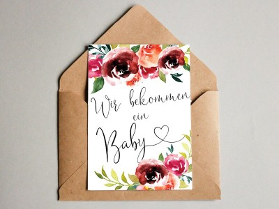 "Karte ""Wir bekommen ein Baby"" Peonies"