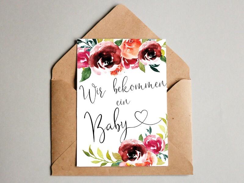 "Karte ""Wir bekommen ein Baby"" Peonies - 1"