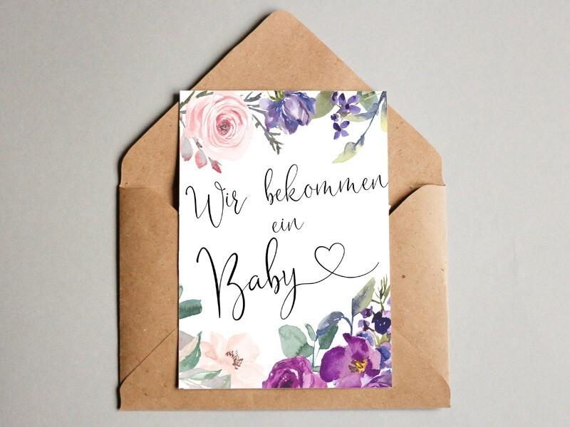 """Karte """"Wir bekommen ein Baby"""" Blossom - 1"""