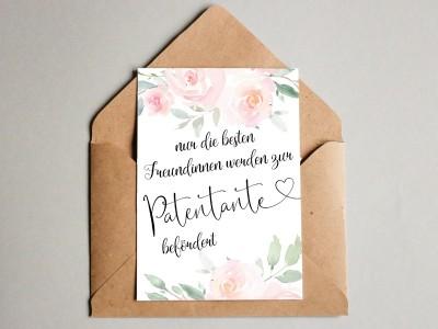 "Karte ""Patentante"" Roses"