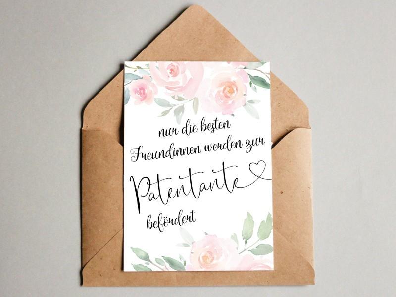 "Karte ""Patentante"" Roses - 1"