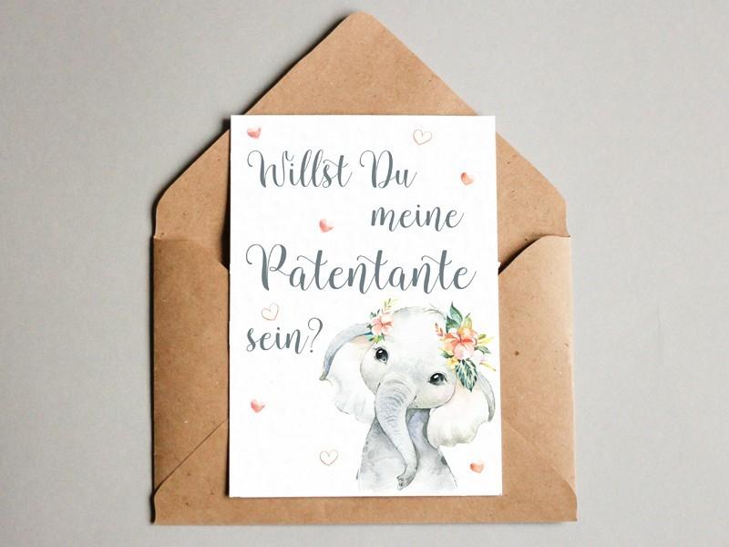 "Karte ""Patentante"" Elefant - 1"