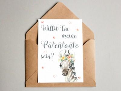 "Karte ""Patentante"" Zebra"