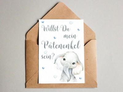 "Karte ""Patenonkel"" Elefant - 1"