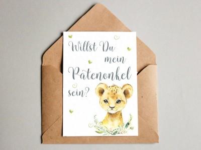 """Karte """"Patenonkel"""" Löwe"""