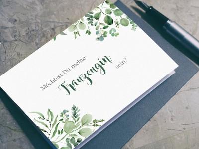 """Postkarte """"Trauzeugin"""" Eucalyptus"""