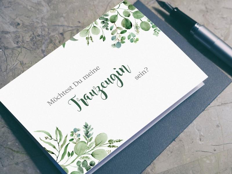 """Postkarte """"Trauzeugin"""" Eucalyptus - 1"""