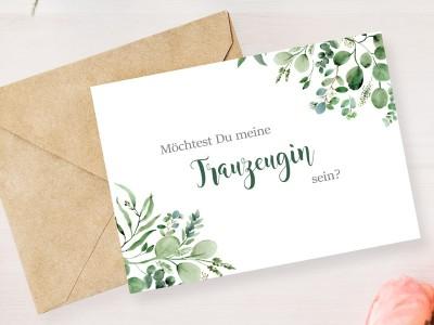 """Postkarte """"Trauzeugin"""" Eucalyptus - 2"""