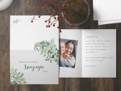 """Postkarte """"Trauzeugin"""" Eucalyptus - 3"""