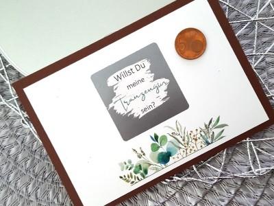 "Rubbel-Postkarte ""Trauzeugin"" Eucalyptus - 2"
