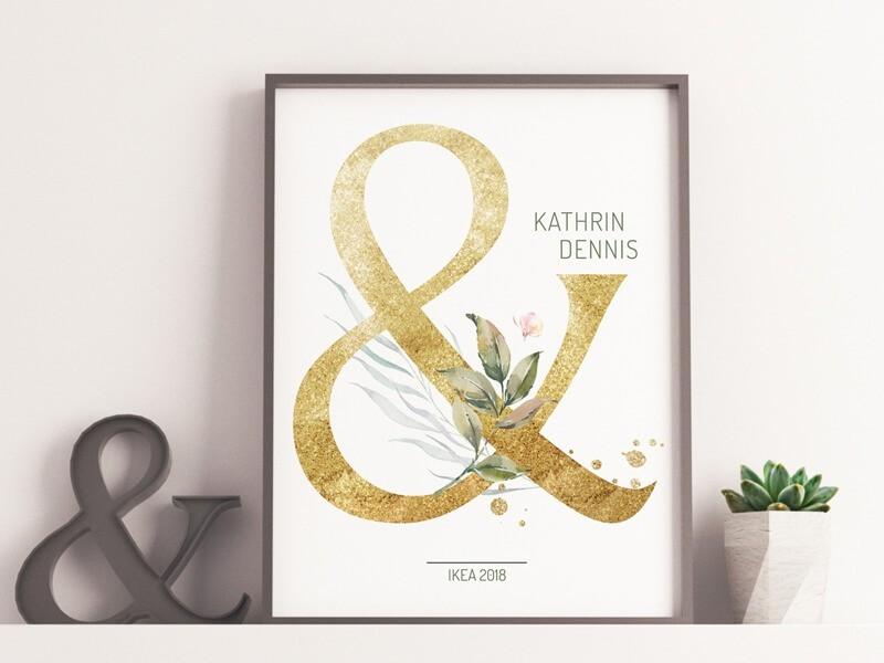 """Hochzeitsposter """"Golden Letter"""" - 1"""