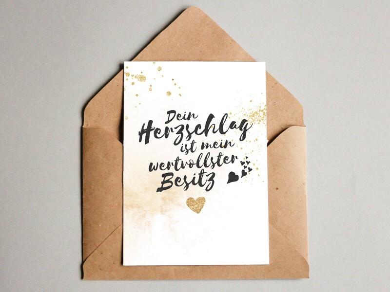 """Karte """"Herzschlag"""" Glitter - 1"""