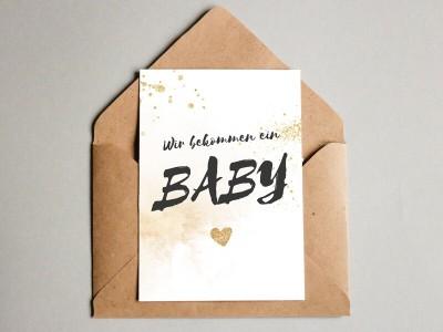 """Karte """"Wir bekommen ein Baby"""" Glitter - 1"""