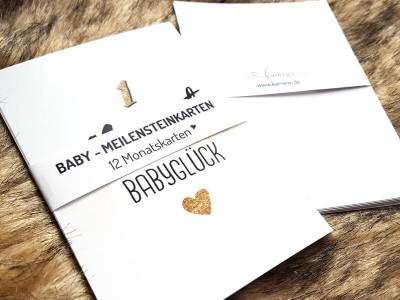 """12 Baby Meilensteinkarten """"Glitter"""""""