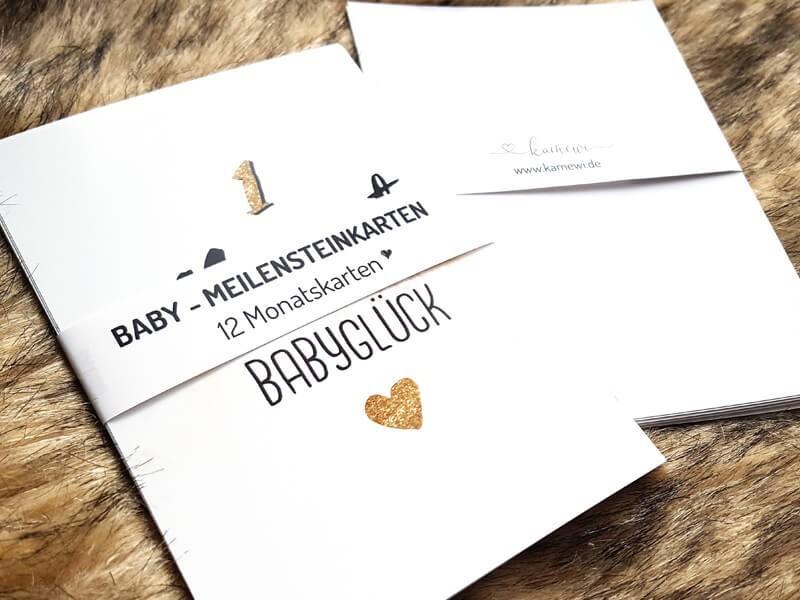 """12 Baby Meilensteinkarten """"Glitter"""" - 1"""